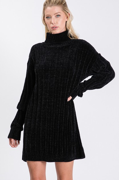 turtle neck knit sweater DRESS - orangeshine.com
