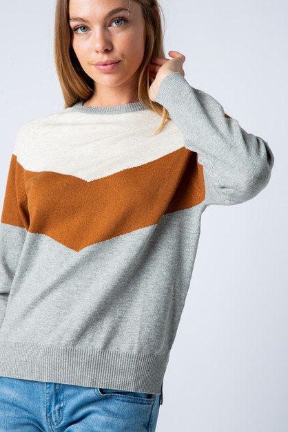 CHEVRON COLOR BLOCK SWEATER - orangeshine.com
