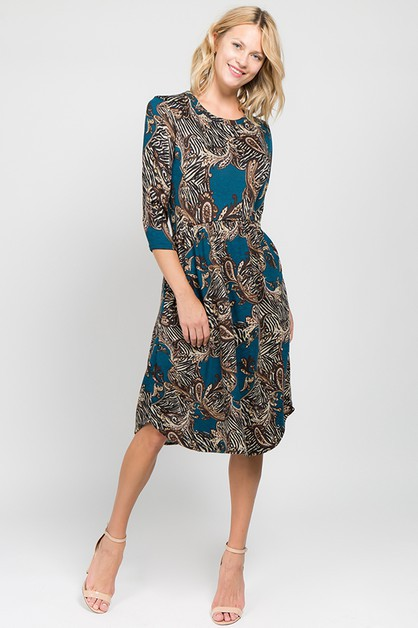 Chic Print Tulip Hem Midi Dress - orangeshine.com