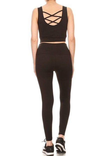 Yoga Sets Sports leggings Cross Tops - orangeshine.com