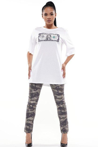 CASH GRAPHIC PATCH OVERSIZED T-SHIRT - orangeshine.com