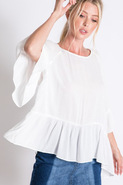 SOLID BASIC RUFFLE DRAPED BLOUSE - orangeshine.com