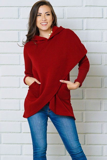 ASYMMETRICAL FRONT HOODED PULLOVER S - orangeshine.com