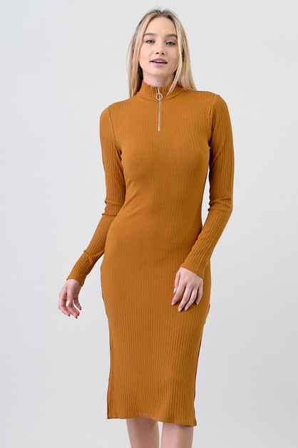 MOCK NECK ZIPPER SIDE SLIT DRESS - orangeshine.com