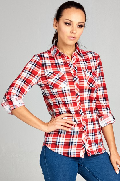 Button roll up sleeve plaid top - orangeshine.com