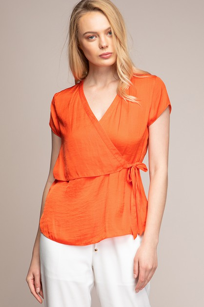 SHOULDER SURPLICE TIE FRONT BLOUSE - orangeshine.com
