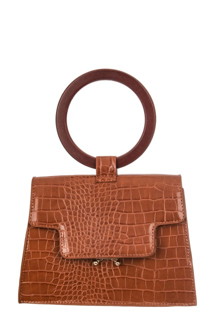 Faux Alligator Skin Top Handle Bag - orangeshine.com