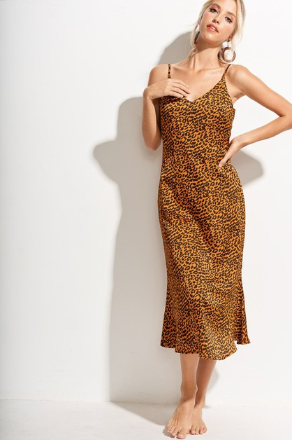 Leopard Satin Long Slip Dress - orangeshine.com