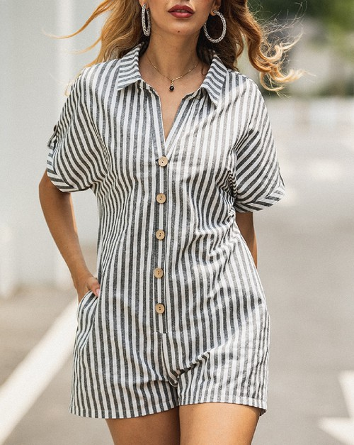 Stripe  Printed Short Sleeve Romper - orangeshine.com