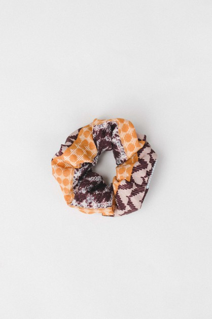 Brown Multi Print Scrunchie - orangeshine.com