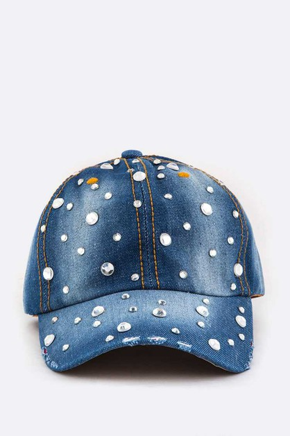 Crystal Studs Denim Cap - orangeshine.com