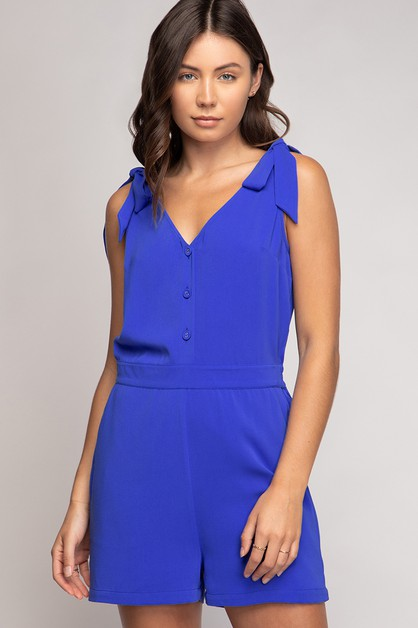 TANK SHOULDER KNOT SLEEVELESS ROMPER - orangeshine.com