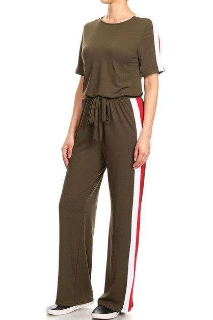 Solid Relaxed Jumpsuits Wide Leg  - orangeshine.com