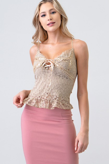 SEQUIN DETAIL SLEEVELESS LACE UP TOP - orangeshine.com