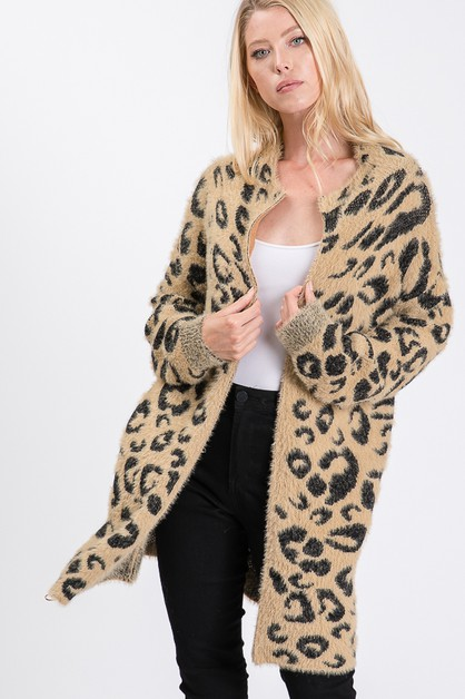 Leopard Print Knit Zip-up JACKETS - orangeshine.com