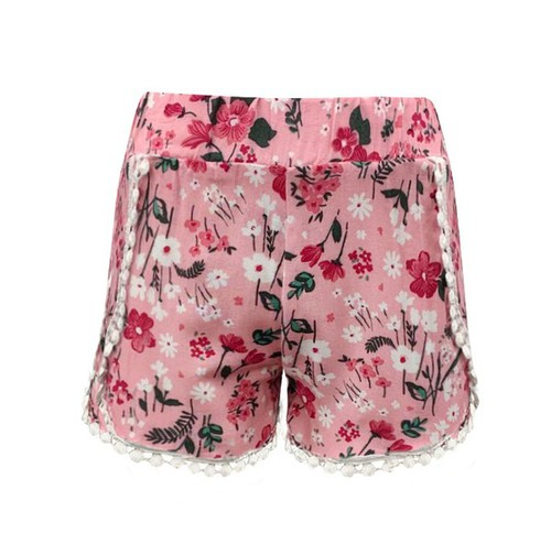 Girls Pink Floral Boho Shorts Kids  - orangeshine.com