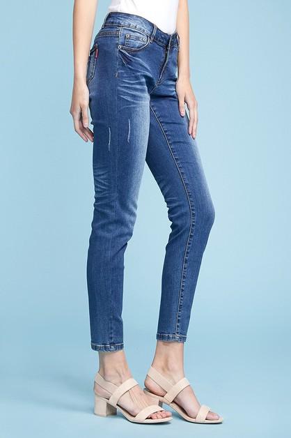 b13fb71f7 Mid Rise Solid Stretch Skinny Jeans - orangeshine.com