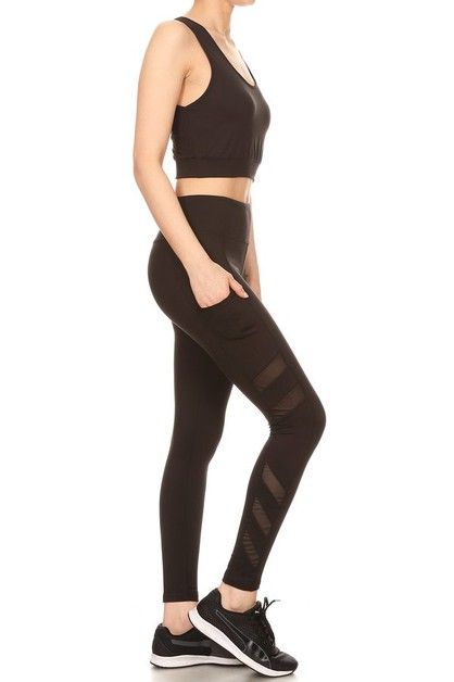 Active Sets Mesh leggings Tank Tops  - orangeshine.com