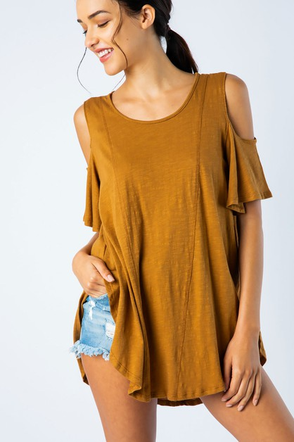 WASHED COTTON COLD SHOULDER HILO TOP - orangeshine.com