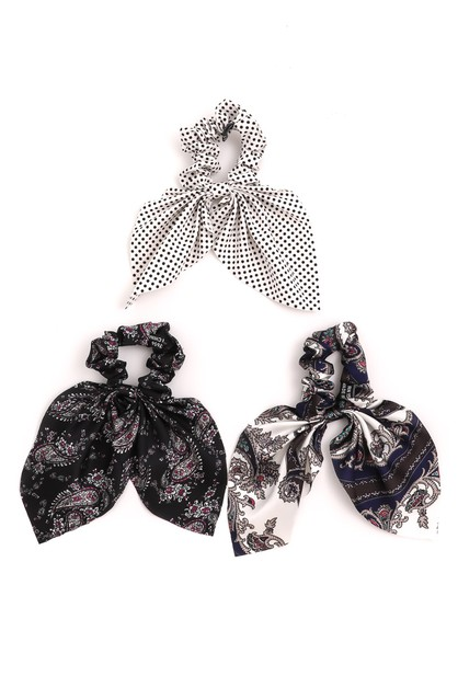 Filigree Print Tail Scrunchies Set - orangeshine.com