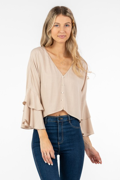 BUTTON-DOWN TOP WITH TIERED-RUFFLE S - orangeshine.com
