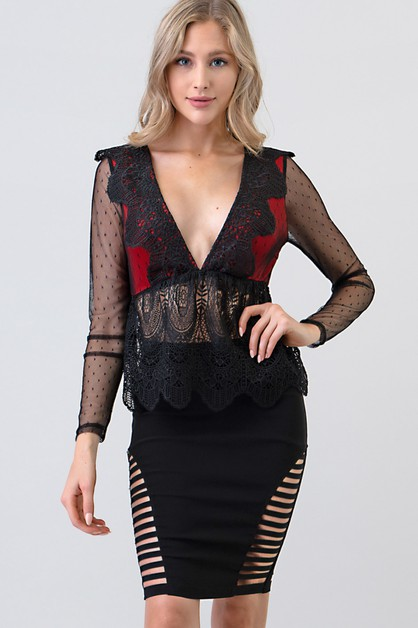 V NECK LACE PEPLUM TOP - orangeshine.com
