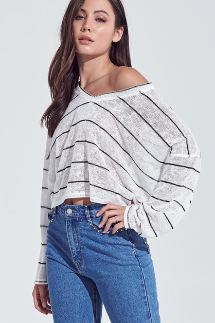 STRIPED KNIT TOP - orangeshine.com