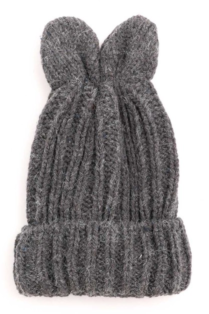 Knitted Bunny Ear Beanie - orangeshine.com