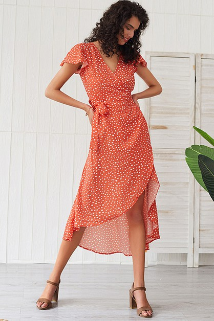 High Low Polka Dot Wrap Dress - orangeshine.com