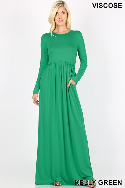 VISCOSE ROUND NECK MAXI DRESS - orangeshine.com