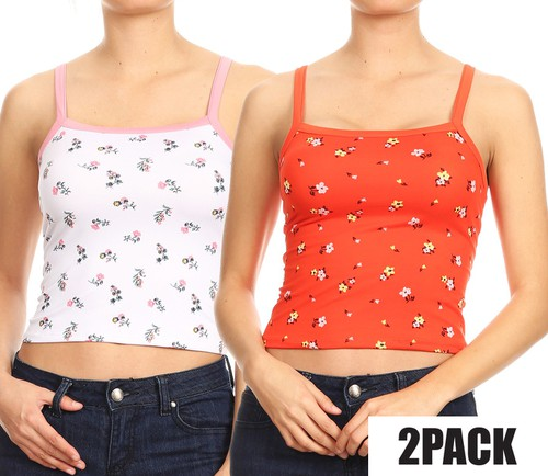 2 Packs Floral Crop Tank Tops Boho - orangeshine.com
