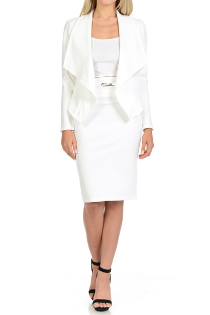 Work Blazer And Pencil Skirt Set - orangeshine.com