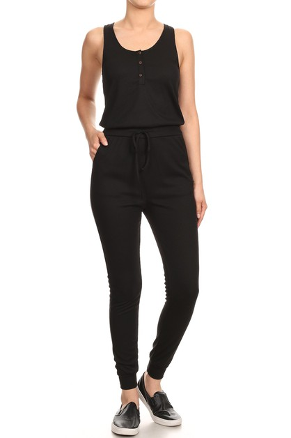 Fitted Rib Joggers Jumpsuits Button - orangeshine.com