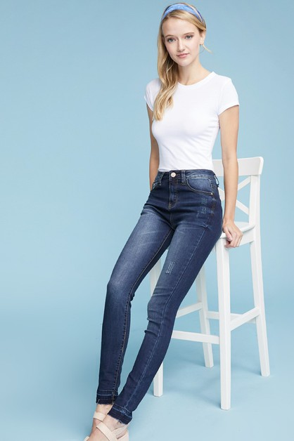 High Waist Stretch Skinny Jeans - orangeshine.com