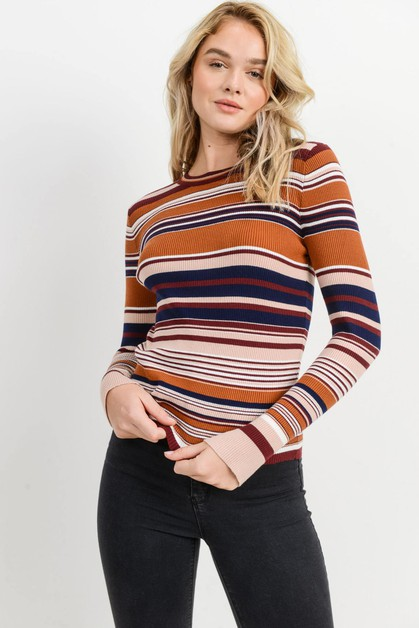 Striped Ribbed Long Sleeves Top - orangeshine.com