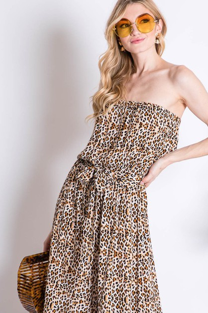 WILD LEOPARD ANIMAL TUBE JUMPSUIT - orangeshine.com