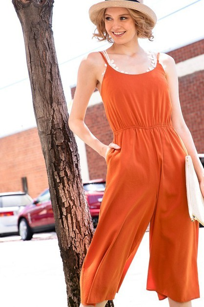 CUTOUT BOW DETAIL JUMPSUIT WITH CROP - orangeshine.com