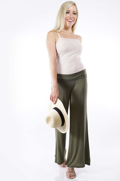 Fold Over Palazzo Pants - 13 Colors - orangeshine.com
