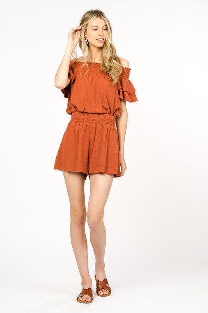 COTTON SHORTS WITH ELASTIC WAIST - orangeshine.com