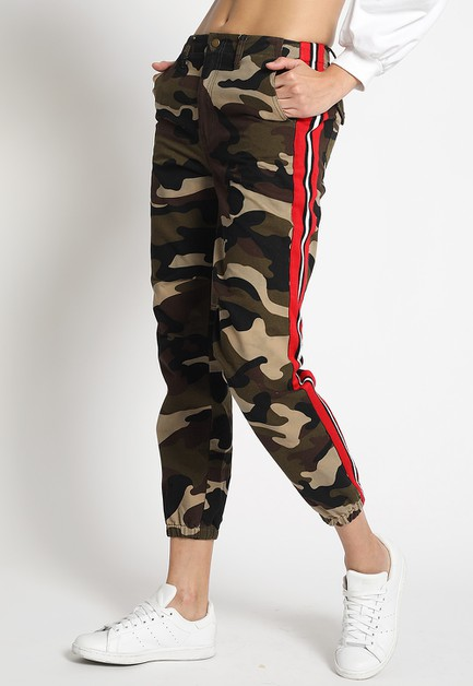 CAMO JOGGER PANTS WITH SIDE TAPE - orangeshine.com
