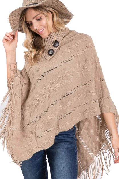 Button Accent Fringe Poncho - orangeshine.com
