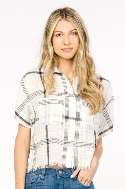 COTTON PLAID SHIRT WITH FRAYED HEM   - orangeshine.com