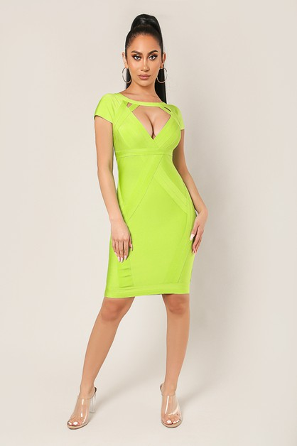 Cutout Short Slv Bandage Dress - orangeshine.com