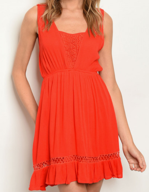 Solid Contrast Front Dress - orangeshine.com