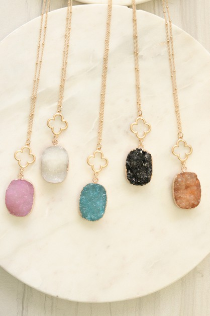 druzy natural stone clover necklace - orangeshine.com
