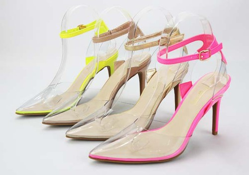 Clear Stiletto Pointed Toe Sandals - orangeshine.com