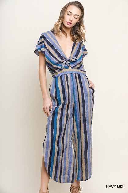 Multi Color Striped Jumpsuit - orangeshine.com