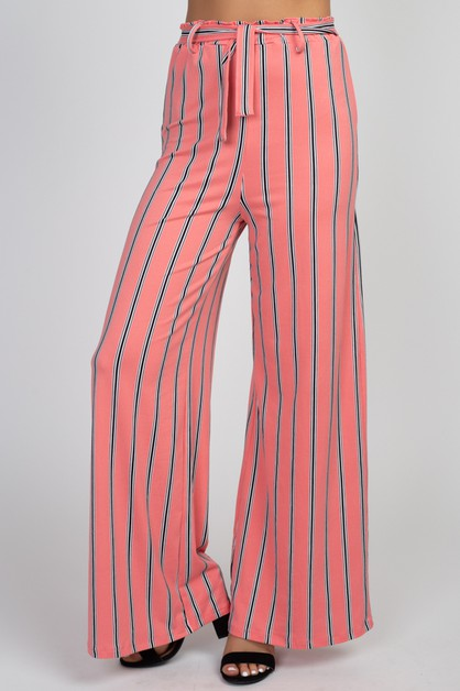 Striped Wide Leg Pants - orangeshine.com