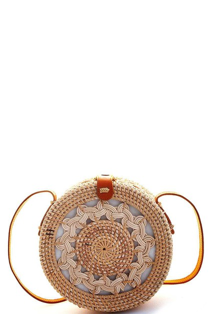 Natural Woven Round Shoulder Bag - orangeshine.com