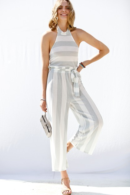 Halter french terry striped jumpsuit - orangeshine.com